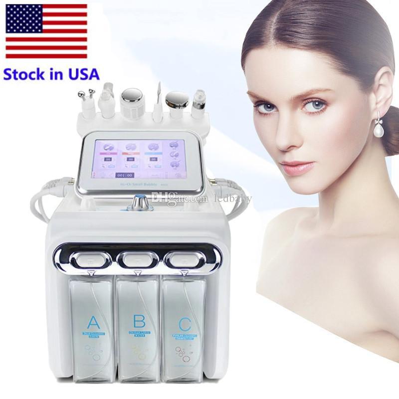 Estoque nos EUA 6 em 1 RF Martelo Frio Hydro Microdermoabrasão Água Hydra Dermaabrasão Spa Facial Pele De Pele De Pene Limpeza Jato de Oxigênio