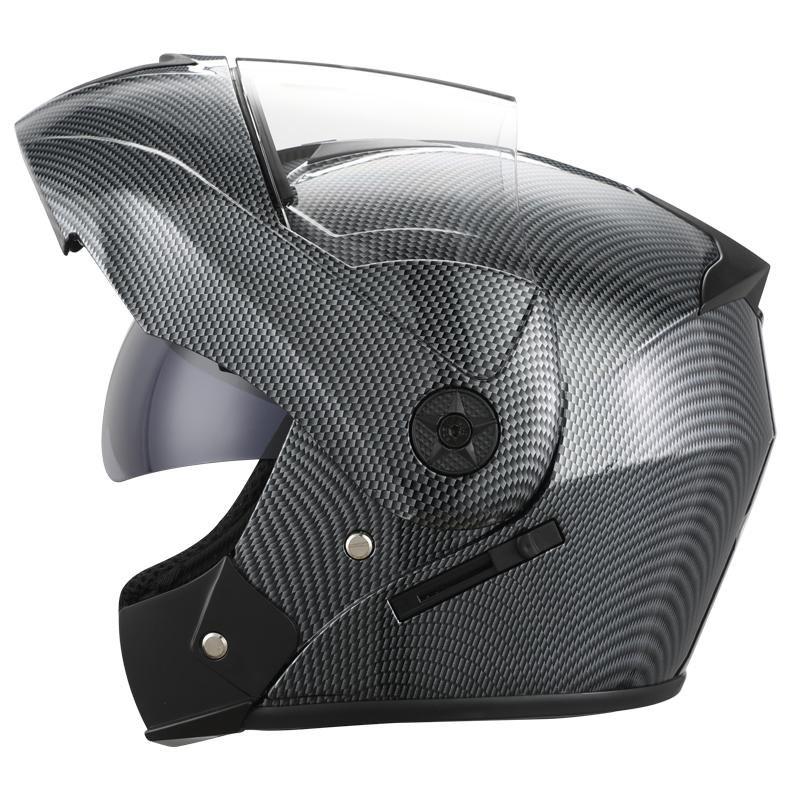 Casques de moto 2021 Visière double Visière Flip Up Motocross Racing Casco Modular Modular Carbon Casque Helm Coffre-fort Moto