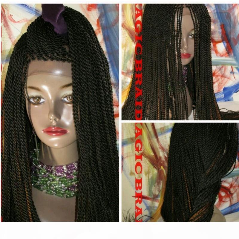 El yapımı Uzun Senegalese 2x Büküm Dantel Peruk Sentetik Tamamen El Örgülü Orta Büküm Kadınlar Için Doğal Saç Çizgisi
