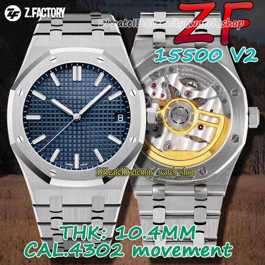 ZFF V2 Versão Th-104mm 15500 Textura Azul Dial Cal ZF4302 Mens Automático Assista Sapphire 904L Caso de Aço Pulseira Eternidade Melhores Relógios 001