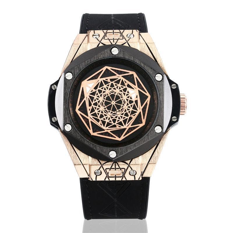Montres-bracelets en caoutchouc de forme irrégulière Mécanique Mécanique Mécanique Squelette automatique Squelette étanche