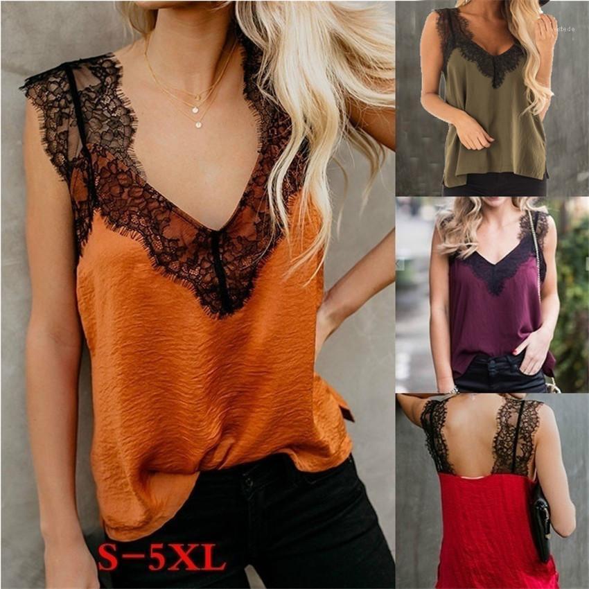 Womens Tshirts 플러스 사이즈 여름 민소매 패치 워크 컬러 Womens Tops 캐주얼 느슨한 여성 의류 레이스 V 넥
