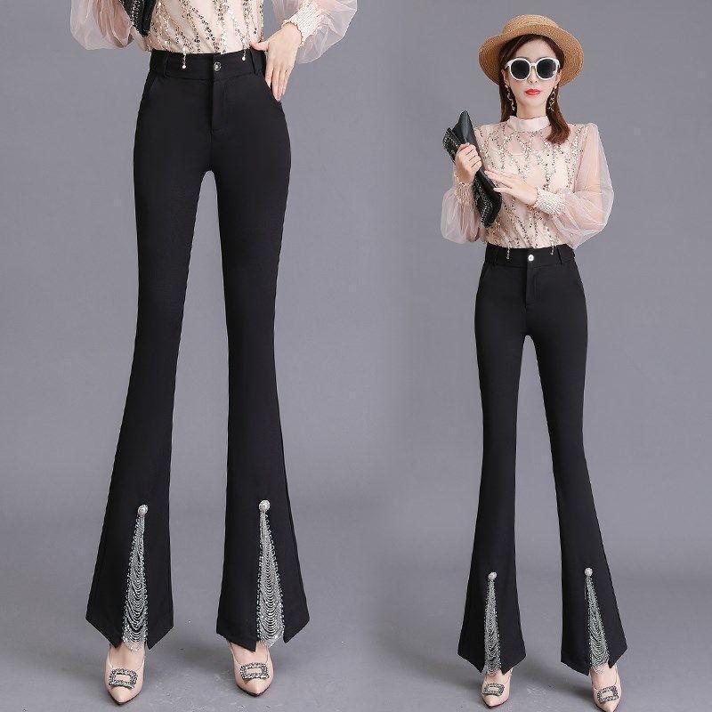 Pantalones para mujer Capris Mujeres 2021 Primavera Otoño Moda Alta Cintura Slim Femenino Color Sácido Pantalones Discotecas Largo Q735