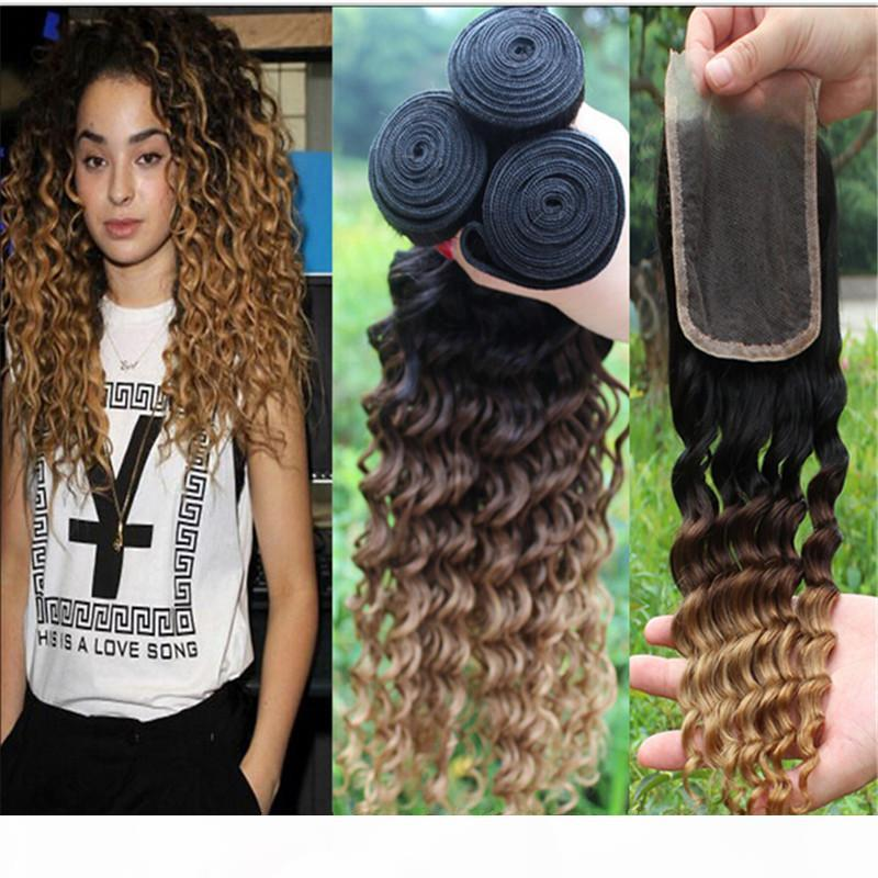 1B 4 27 Honey Blonde Ombre Brazilian Human Hair Weaves With Lace Closure Deep Curly Wave Two Tone 3Bundles With Closure 4Pcs Lot