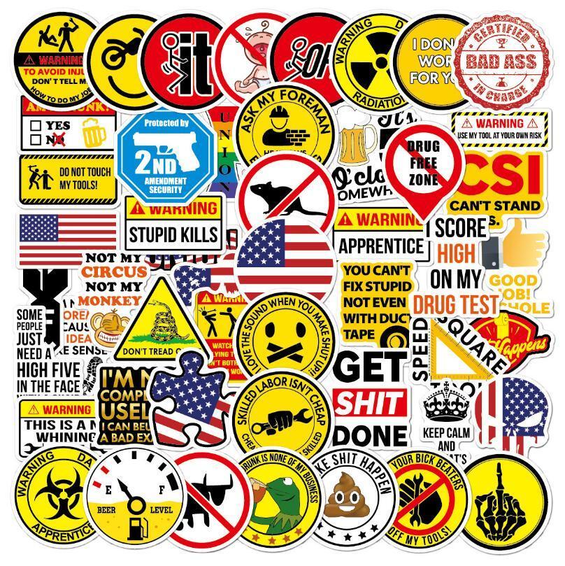 50 قطع حزمة خوذة مارك ملصقات toolbox العلم تحذير الكرتون كتابات الصناعة دراجة نارية ملصق دراجة نارية الشارات
