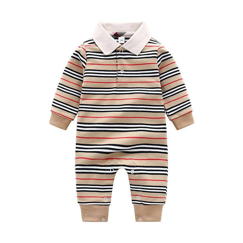 Baby Spring Autumn Clothing Baby Girl Cotton Romper Boy Knitted Ribbed Jumpsuit Newborn Strip Infant Outfit One Piece Jumpsuit Q0201