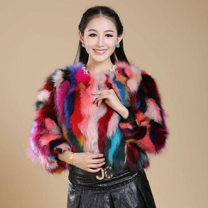 Faux Feminino Faux Lovely-Jinnuo 50cm Genuine 100% Raccoon Relator Mulheres Jaqueta Real Colorido Personalizado Grande Tamanho Grande JN545