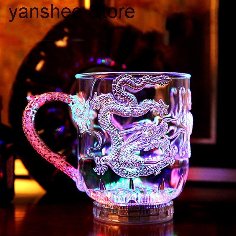 Mugs Magic Cup Color Changing Luminous Plastic Water Dragon Wine Beer Supplies Horizontal Bar Kitchen Beverage