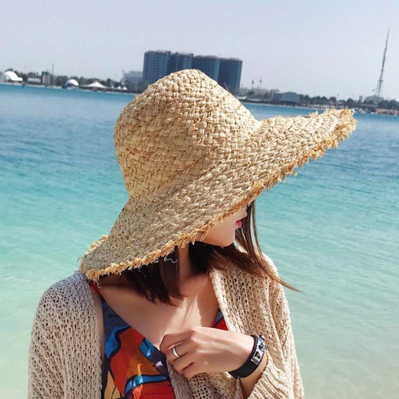Venda quente chapéu senhora grande borda lettering bordado lafite palha férias praia de malha chapéus mulheres coreanas version sunshade chapéus Y0223