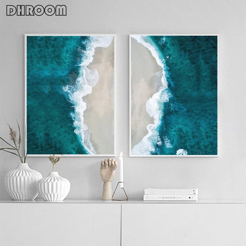 Praia Da Arte Da Praia Impressão Oceano Paisagem Canvas Poster Arte Pintura Decoração Nórdicaimagem Decoração de Parede Moderna para Sala de estar
