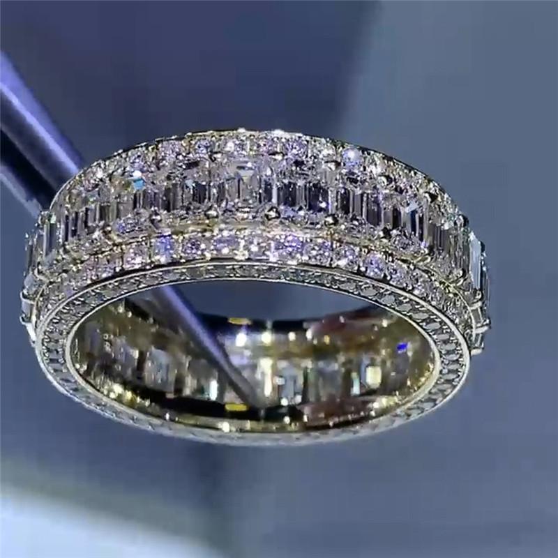 Choucong Marka Lüks Takı 925 Ayar Gümüş Dolgu Tam T Prenses Kesim Beyaz Topaz CZ Elmas Taşlar Parti Moissanit Kadınlar Düğün Band Yüzük Aşk Hediye