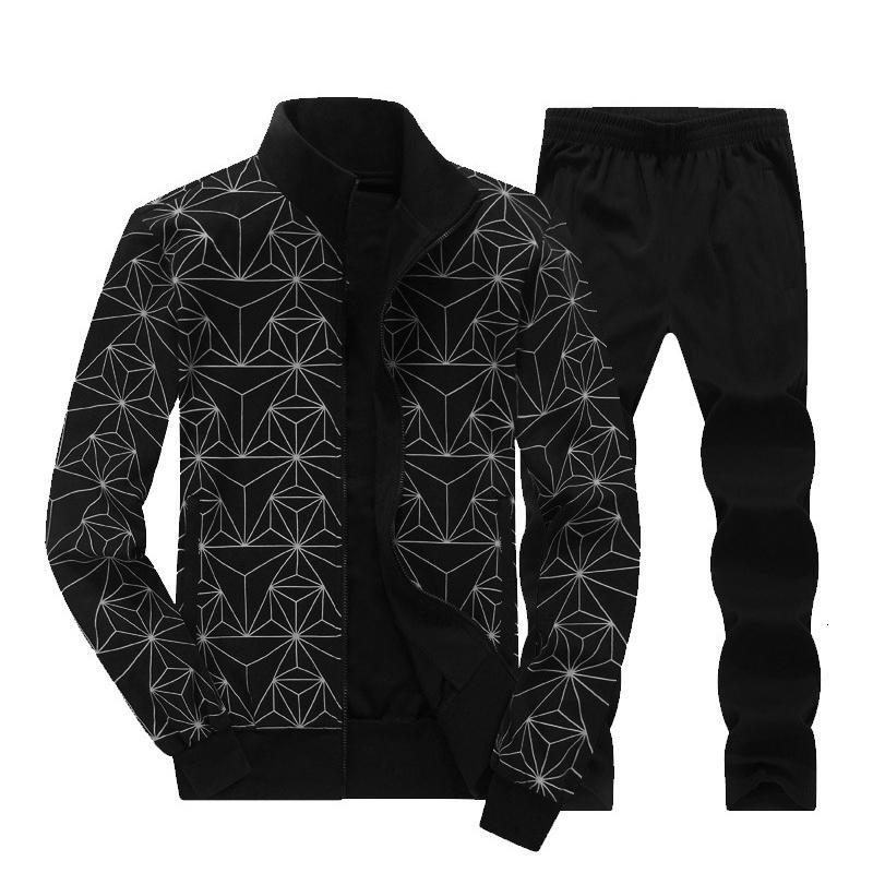 2021 Новый YDTomm Высокое качество 2021Autumn набор двух частей вскользь спортивный костюм Геометрические напечатанные куртки на молнии + брюки Мужчины Cousssuit L-8XL OAVS