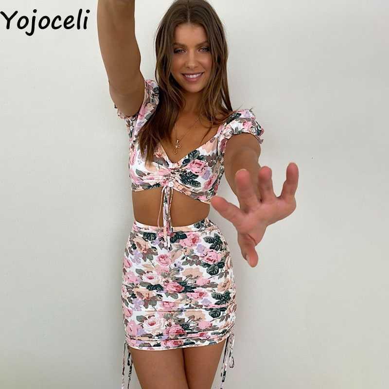YOJOCELI Seksi Çiçek Baskı Kısa Bodycon Elbise Yaz Kulübü Kadınlar Plaj Rahat Serin Dantelli Vestidos 210609