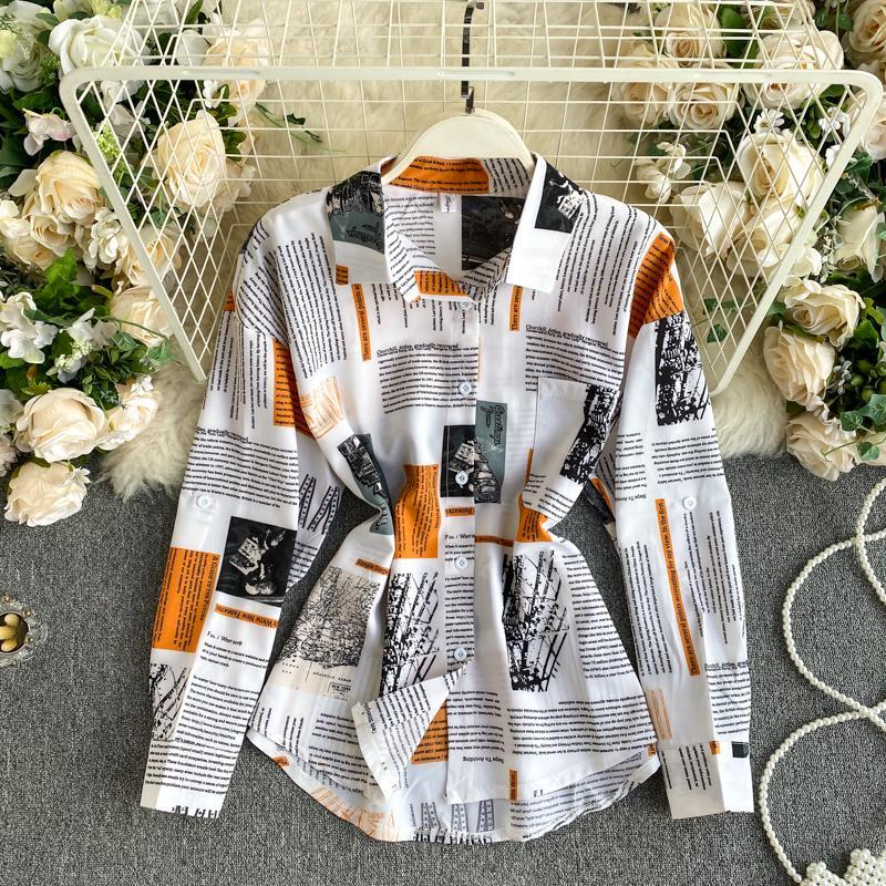 2021 Yeni Baskı Gevşek Bluz Kadınlar Down Yaka Moda Rahat Bahar Sonbahar Uzun Kollu Basit Gömlek Giysileri OKH7