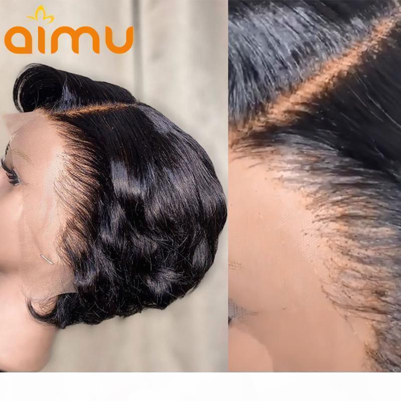 Pixie Cut парик прямой волнистый короткий короткий боб парик 13x4 кружева фронт человеческие парики волос 4x4 закрытие предварительно сорванные и отбеленные 250% плотность