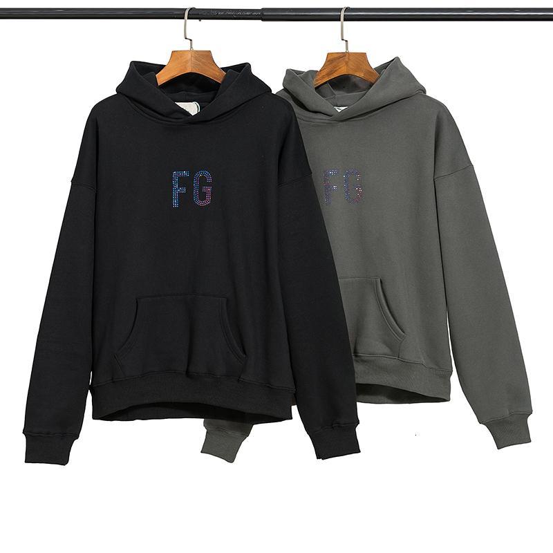 2021 새로운 고품질 안개 Essentials FG 다이아몬드 편지 후드 스웨터 여성 HipHop Streetwear 양털 후드 남자 L4he