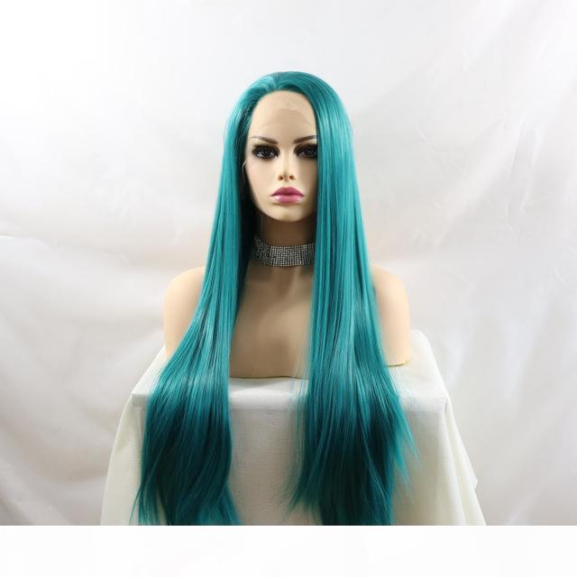 Günstige synthetische Spitze Frontperücken mit Babyhaar Blaue Farbe Glueless Realistisch aussehende lange geradlinige hitzebeständige Faserperücke für Frauen