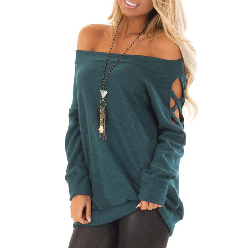 Outono novo t-shirt de mangas compridas um-ombro camisa de fundo sem alças a roupa das mulheres