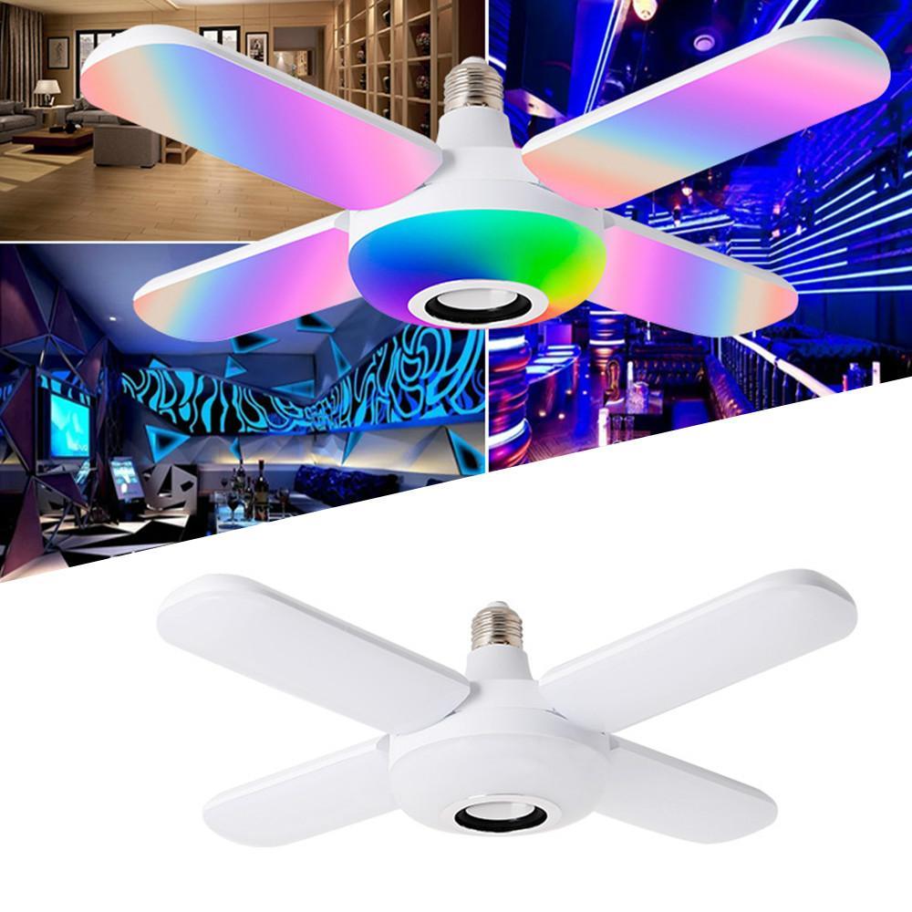 Bluetooth Music Light RGB LED Lampe à quatre feuilles Ventilateur en forme de 50W E27 Ampoule à LED avec télécommande ampoule pliable ampoule intelligente