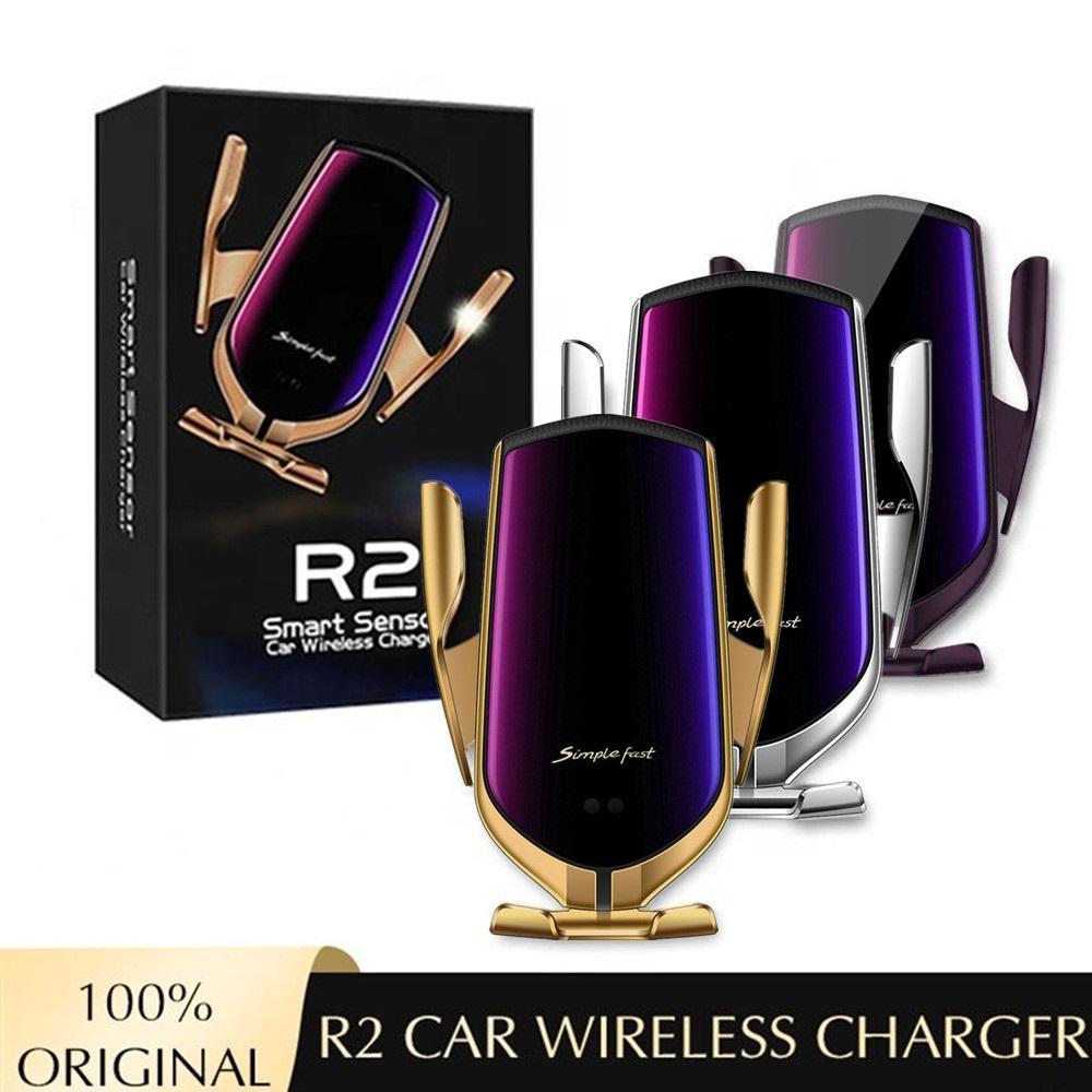 2 10W drahtlose Auto-Ladegerät Auto-Clamp-Schnelllade-Telefonhalter-Halterung für iPhone 8 x XR 11 12 Samsung Smart Sensor