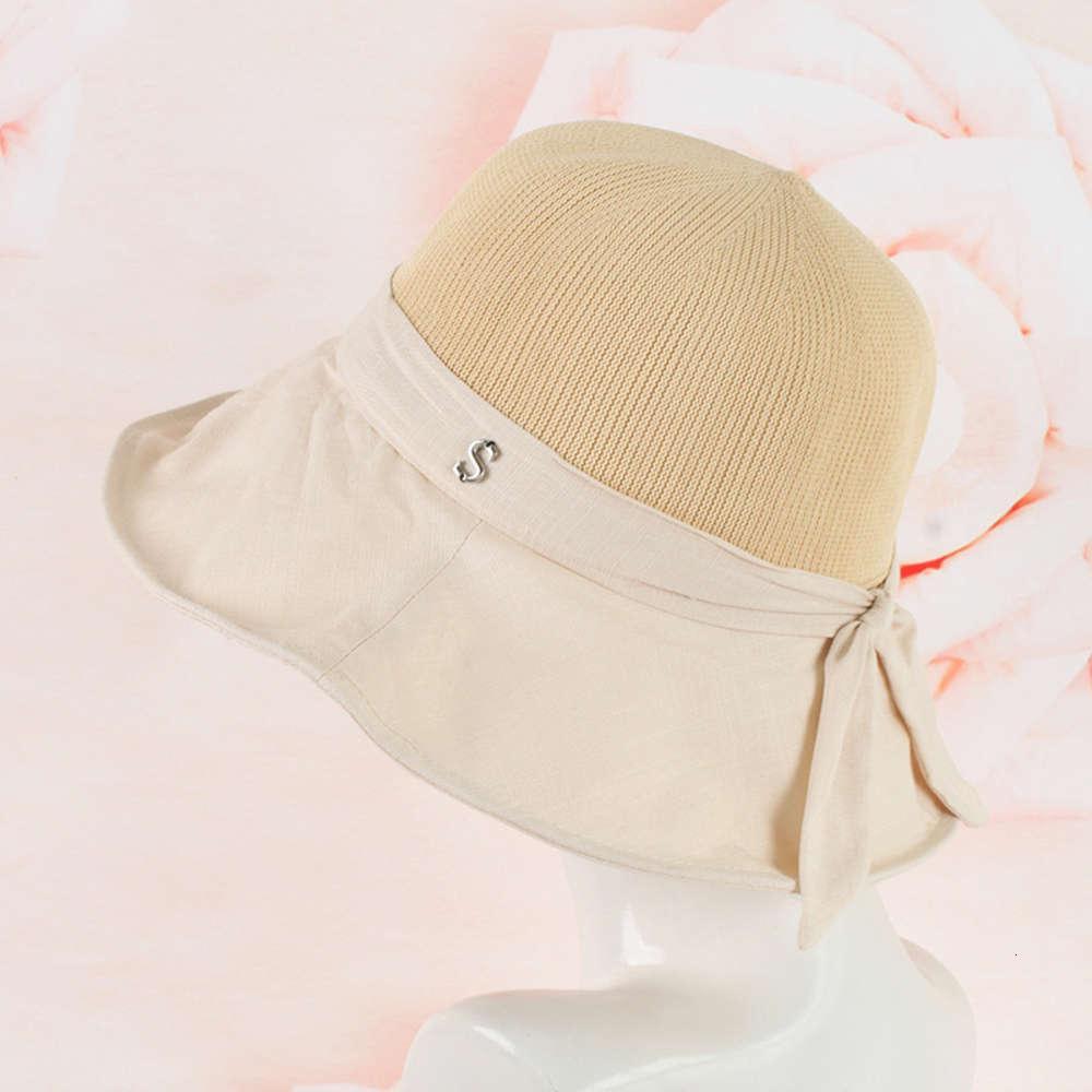 Verão Crianças Corean Fisherman's Stitching Tricô Top Pano Borda Simples Beach Hat Sunscreen Dobrável