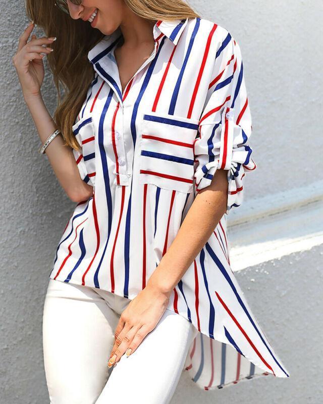 Mulheres v pescoço de manga comprida listra camisas soltas tops senhoras blusa irregular casual blusas mujer de moda 2021