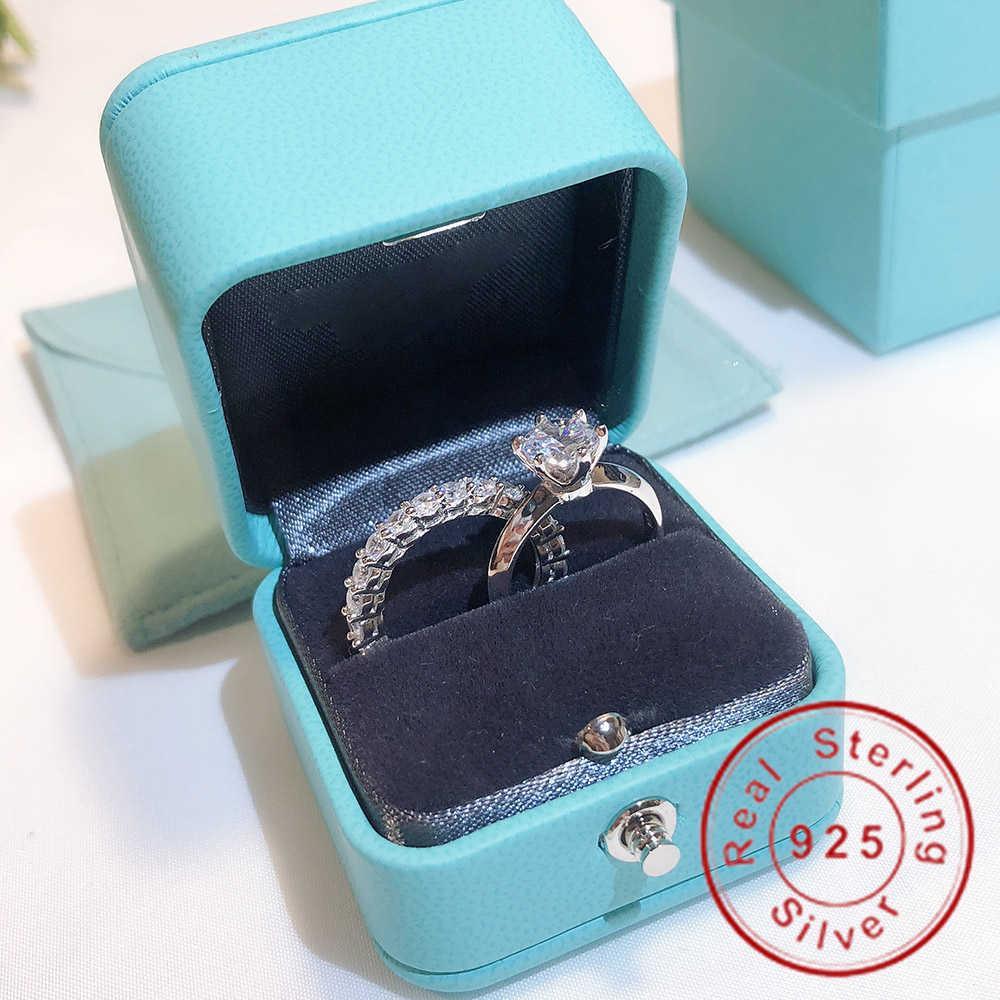 العلامة التجارية وعد حلقة مجموعة ريال 100٪ 925 فضة الماس الاشتباك الزفاف الفرقة خواتم للنساء فنجر مجوهرات 201006