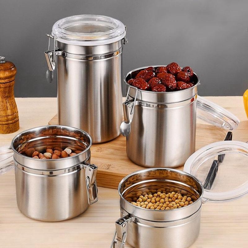 Garrafa de armazenamento de aço inoxidável grãos de garrafa de açúcar de açúcar feijões de café de refrigeradoras frescas organizador de armazenamento de cozinha