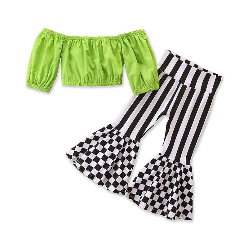 Детская одежда для девочек наряды детей с плечами + клетчатые полосы вспыхивающие штаны 2 шт. / Наборы 2021 летняя мода детская одежда наборы одежды