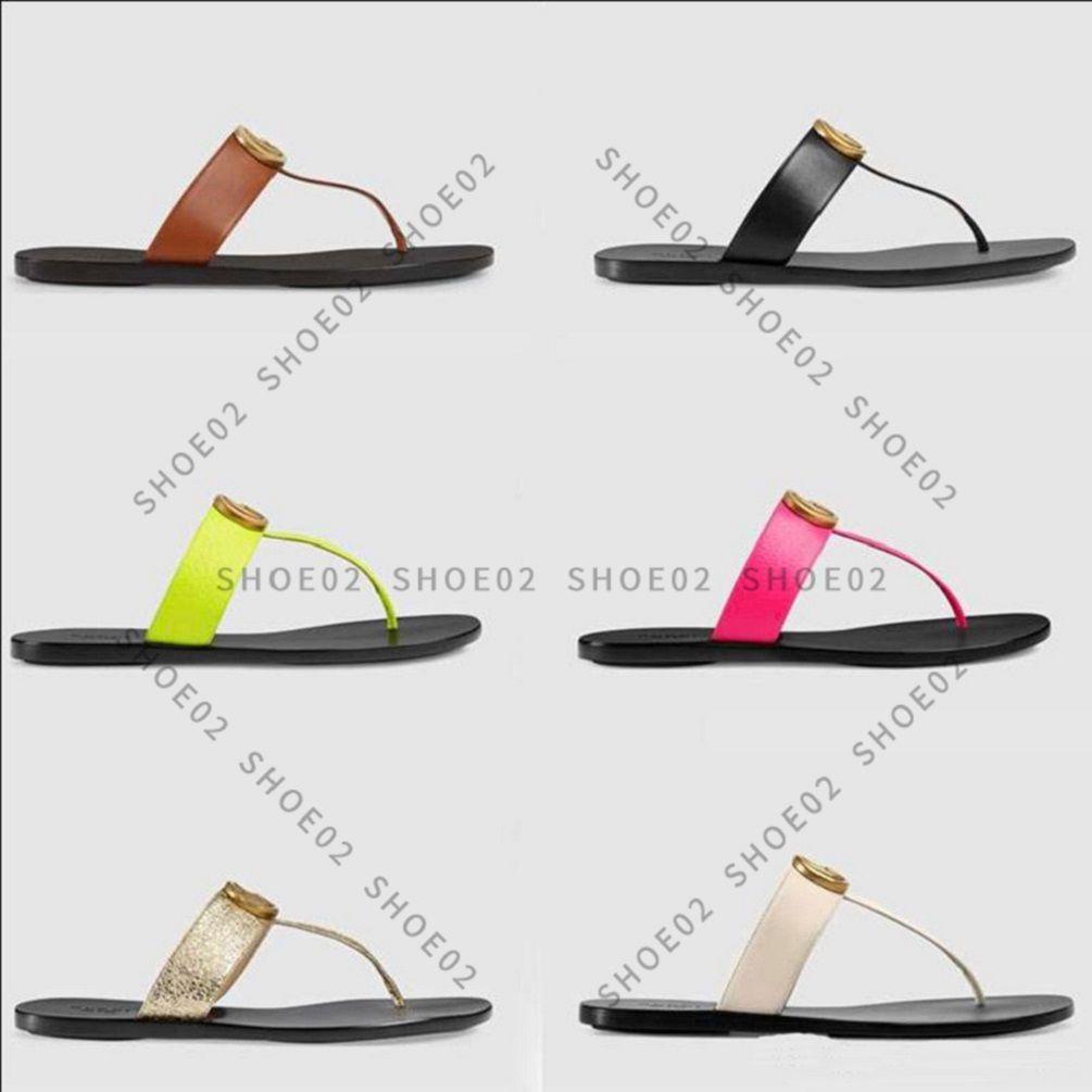 2021 Sandales Femme Haute Qualité Santettes élégantes Mode Classics Sandales Sandales Chaussures plates Slippe Slide EU: 35-41 avec boîte à chaussures02 01