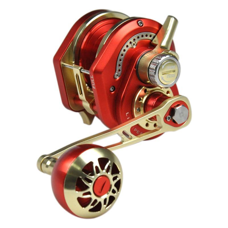 CIBO Langsame Jigging Rolle Saltwater Fishing 6.3: 1 Geschwindigkeit Vollmetalltrommelrad 13 + 2BB Bootsrolle links / rechts Griff Köderguss