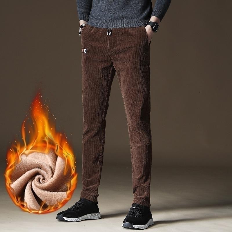 2021 Yeni Kore Tarzı Moda Erkekler Kot Sonbahar Kış Yeni Tasarımcı Rahat Kadife Pantolon Slim Fit Elastik Akıllı İş Sıcak Pantolon M9ay