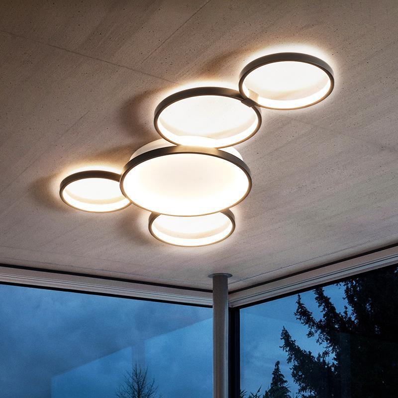 현대 아크릴 금속 LED 천장 램프 블랙 라운드 반지 통로 가슬 팔러 침실 레스토랑 카페 조명기구 조명