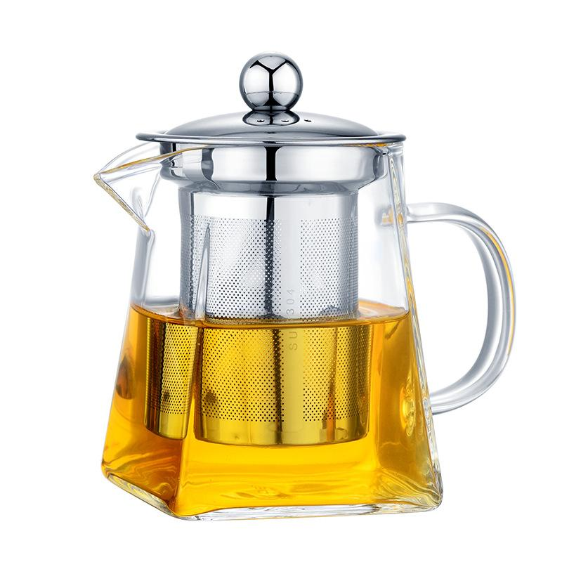 350/550/750/950ML Borosilicate Glass Teapot Heat Resistant Square Glass Teapot Tea Infuser Filter Milk Oolong Flower Tea Pot Steel Tea