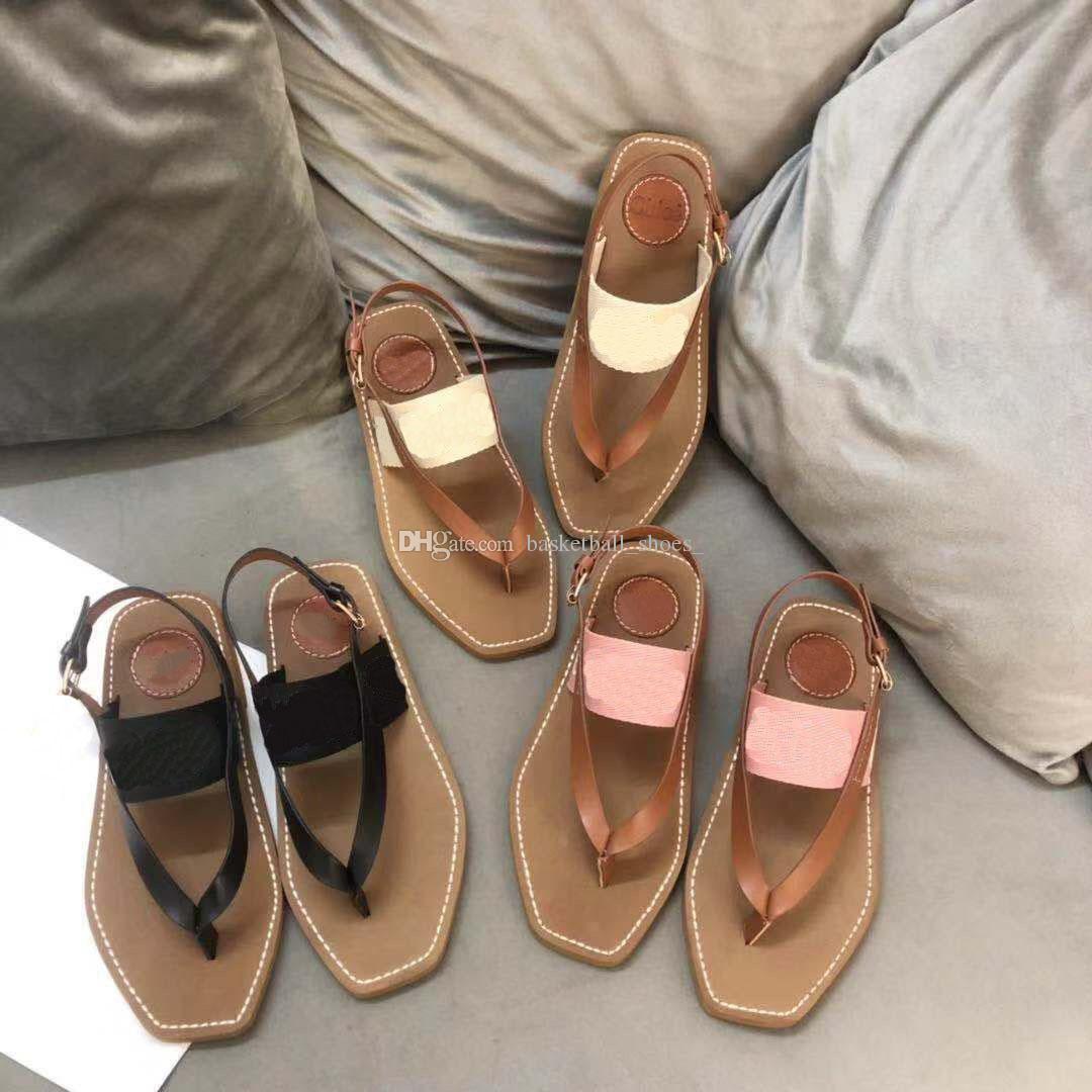 Mode Designer Femmes Beach Sandales Broderie Plateforme Chaussures Flip Flops Mocassins Summer Flats Chaussures Femmes Sandales Dames Santelet Taille 35-42