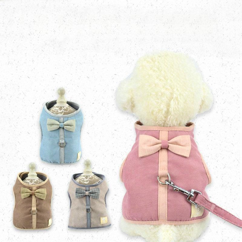 Маленькая собака жгут с поводным набором щенок кошачий жилет жгут воротник для чихуахуа мопса бык собака кошка зимняя домашняя продукция 506 R2