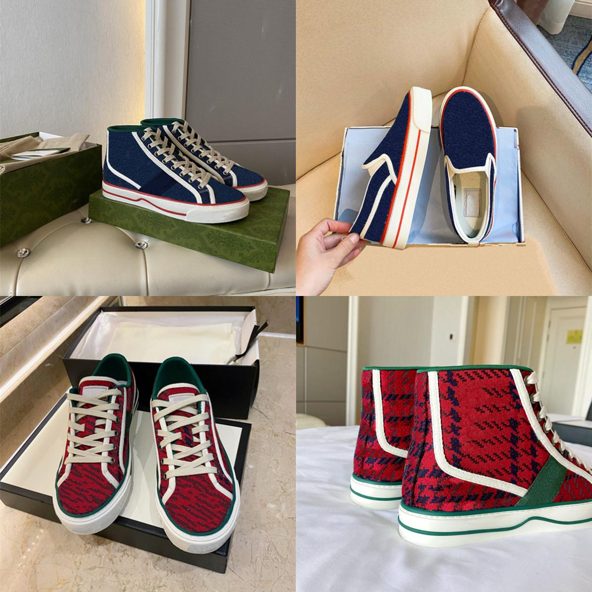 Tenis 1977 High Top Womens Zapatos casuales Red and Green Houndstooth Stripe Luxurys Designers Shoe Slight Slip-On Sneaker