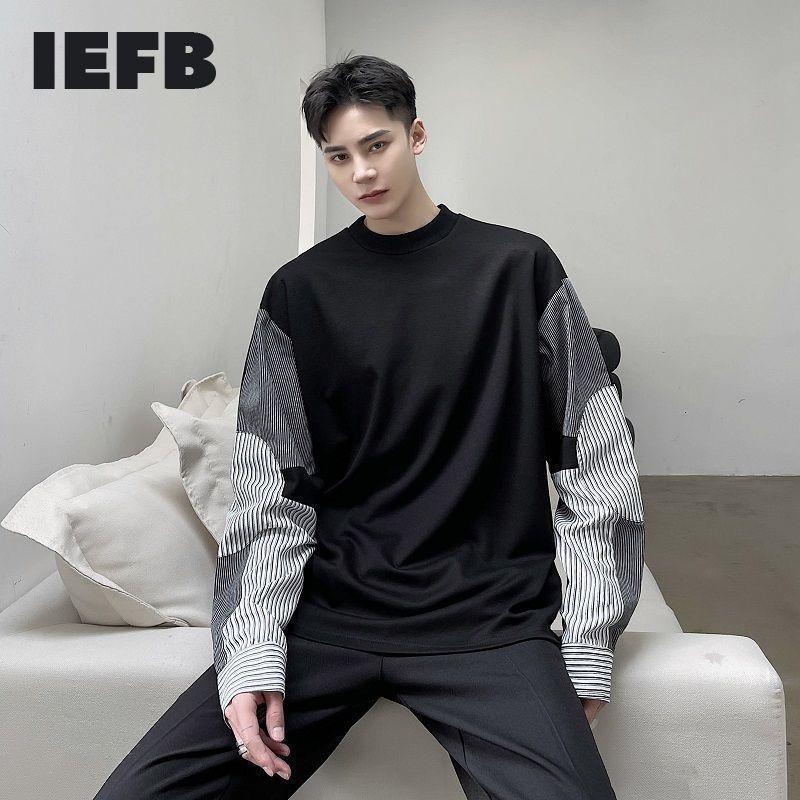 Толстовки ранней весенней корейской полосы контрастный цвет пэчворк круглые шеи кофты для мужчин модный пуловер с длинным рукавом Topsa1
