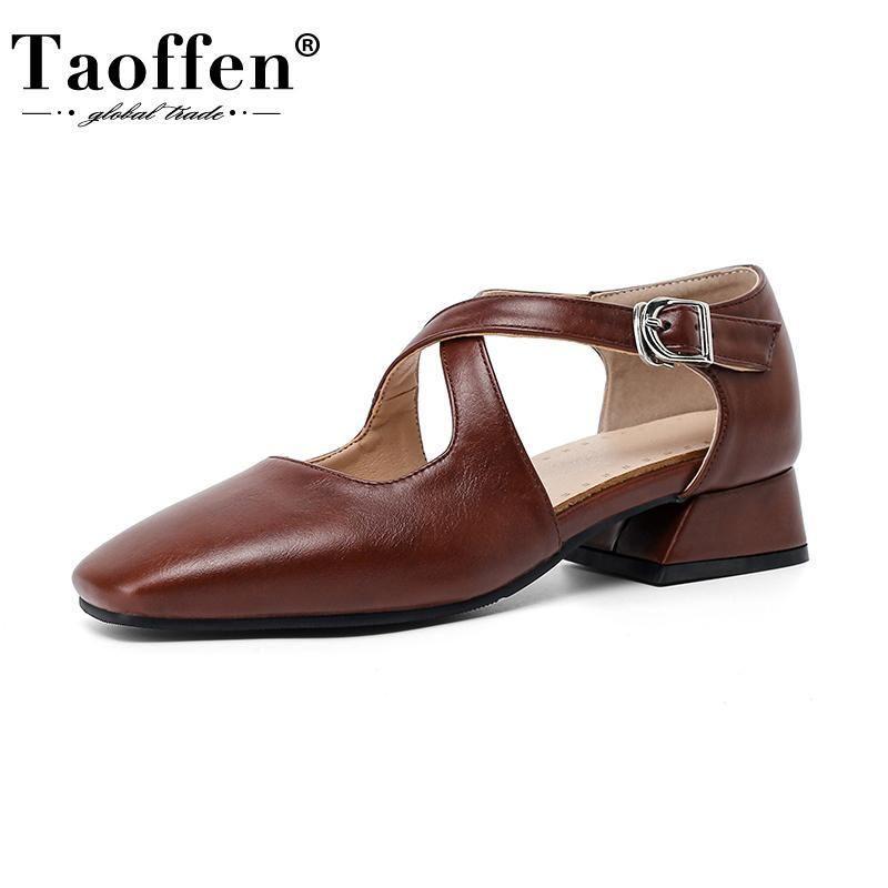 Сандалии TaOffen Размер 32-43 Прибытие Женщины Высокий каблук Летняя Обувь Пряжка Ремень Женская Повседневная Обувь