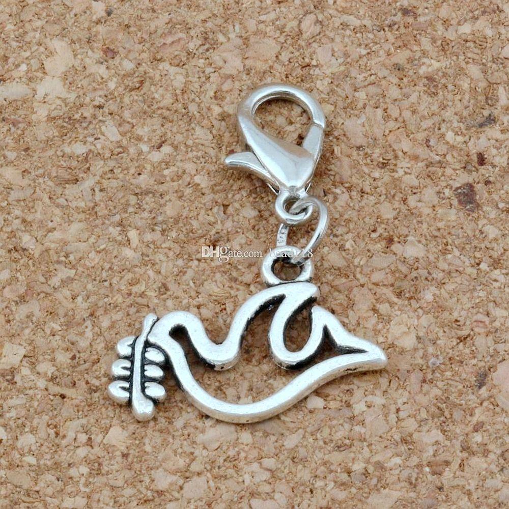 100pcs lega di pace colomba colomba olive galleggiante aragosta stringili pendenti di fascino per gioielli che fanno braccialetto collana accessori fai da te 0x26mm A-259b