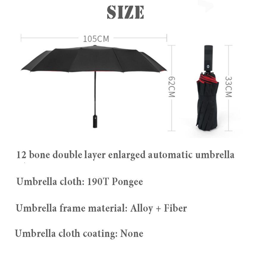 Otomatik rüzgar geçirmez çift katlanır şemsiye kadın erkek 12 kemik araba lüks büyük iş şemsiye erkekler yağmur kadınlar hediye parasol my7a