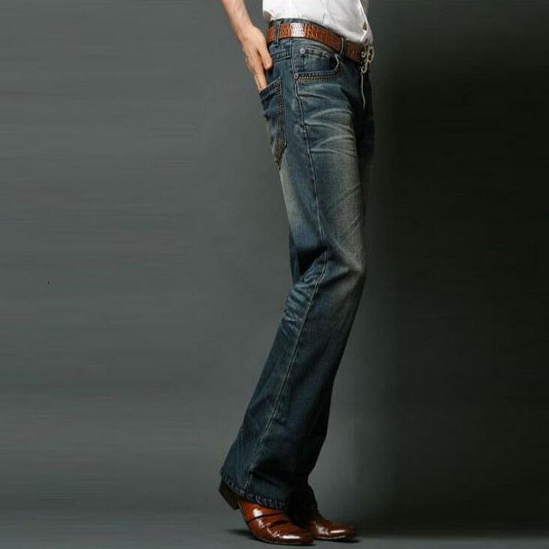 Büyük Erkekler Erkek Boot Cut Bacak Flared Gevşek Fit Yüksek Bel Erkek Tasarımcı Klasik Denim Jeans 14U7