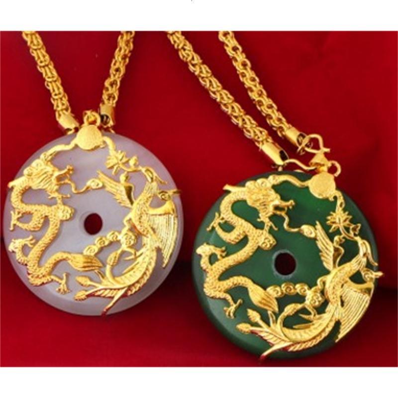Социальная высококачественная низкая цена высококачественный натуральный высокий нефритовый инкрустация дракона * Phoenix подвесного золота Fiiiled Necklacei Up-Market