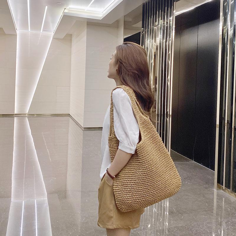 2021 Summer New Women Straw Korean Style Ladies Shoulder Woven Middle Set Female Handbag Casual Beach Bag Whole Sale C0225