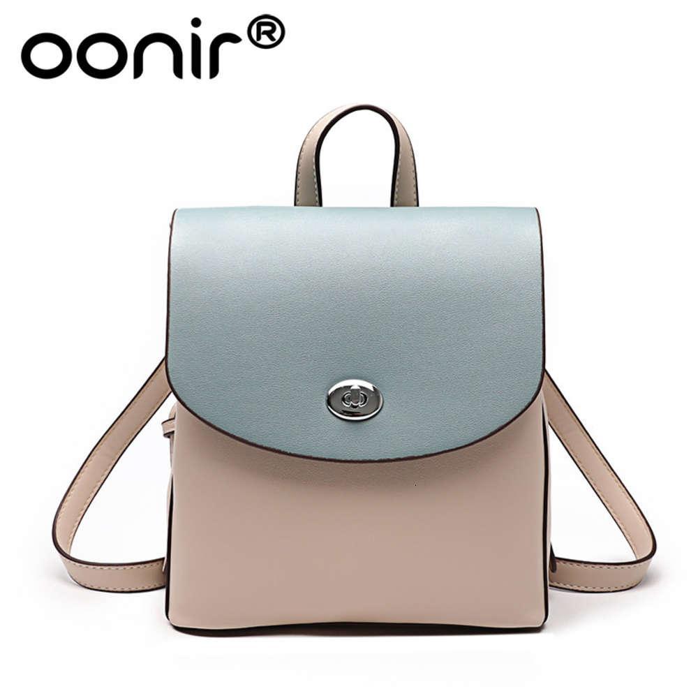 Mochila de cuero Ciudad de las mujeres Simple 2021 Nueva mochila de moda versátil Simple Color Pure Extranjero Cuero Bolsa de mujer