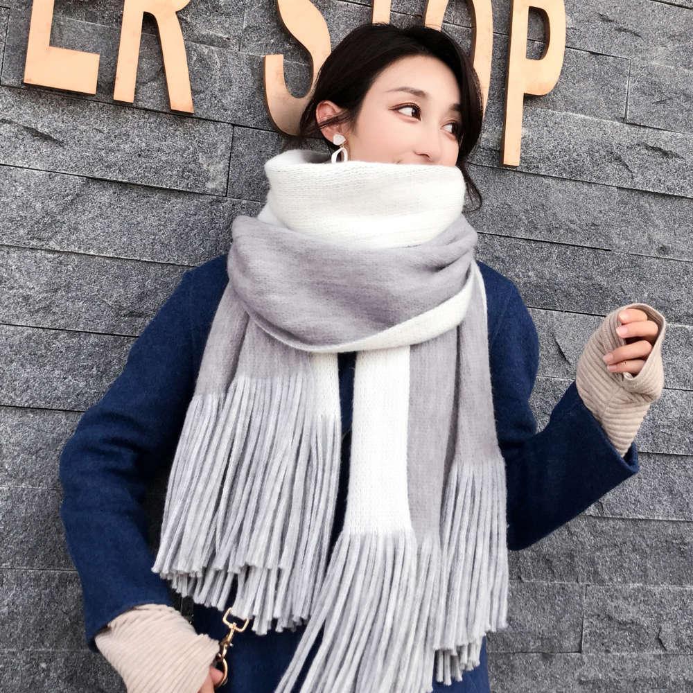 Autunno e inverno Ins La versione coreana da donna lungo imitazione addensata in cashmere a due lati tutt'immagine a colori solido