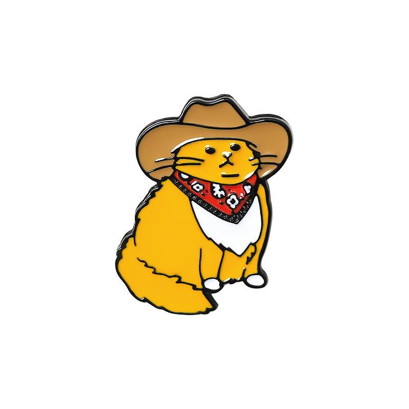 Gatos de cowboy esmalte pino personalizado engraçado animal chapéu broche camisa saco de lapela badge bonito dos desenhos animados gatinho jóias presente para amigos