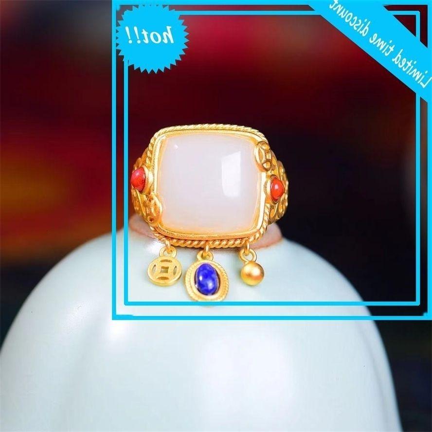 Naturel 925 jadis de dix carrés avec anneau lapis lazuli