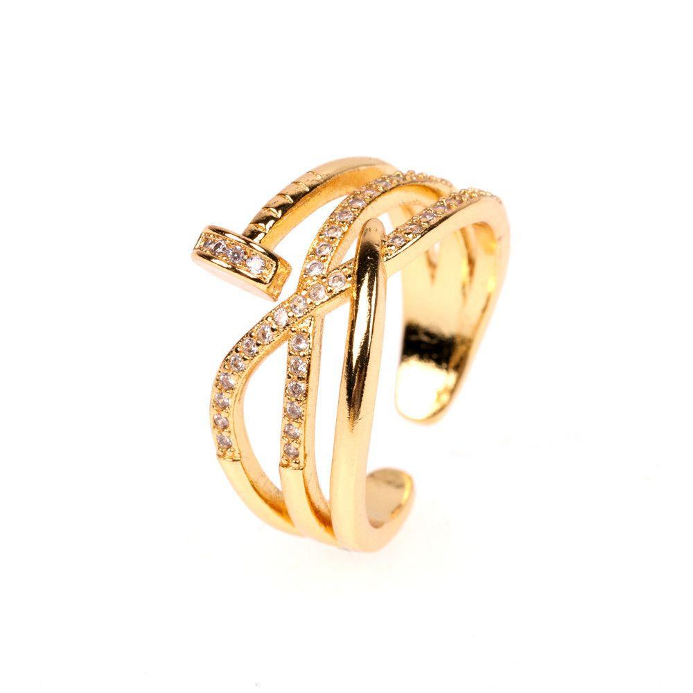 INS Мода Nail Zircon Личность преувеличение Женское кольцо