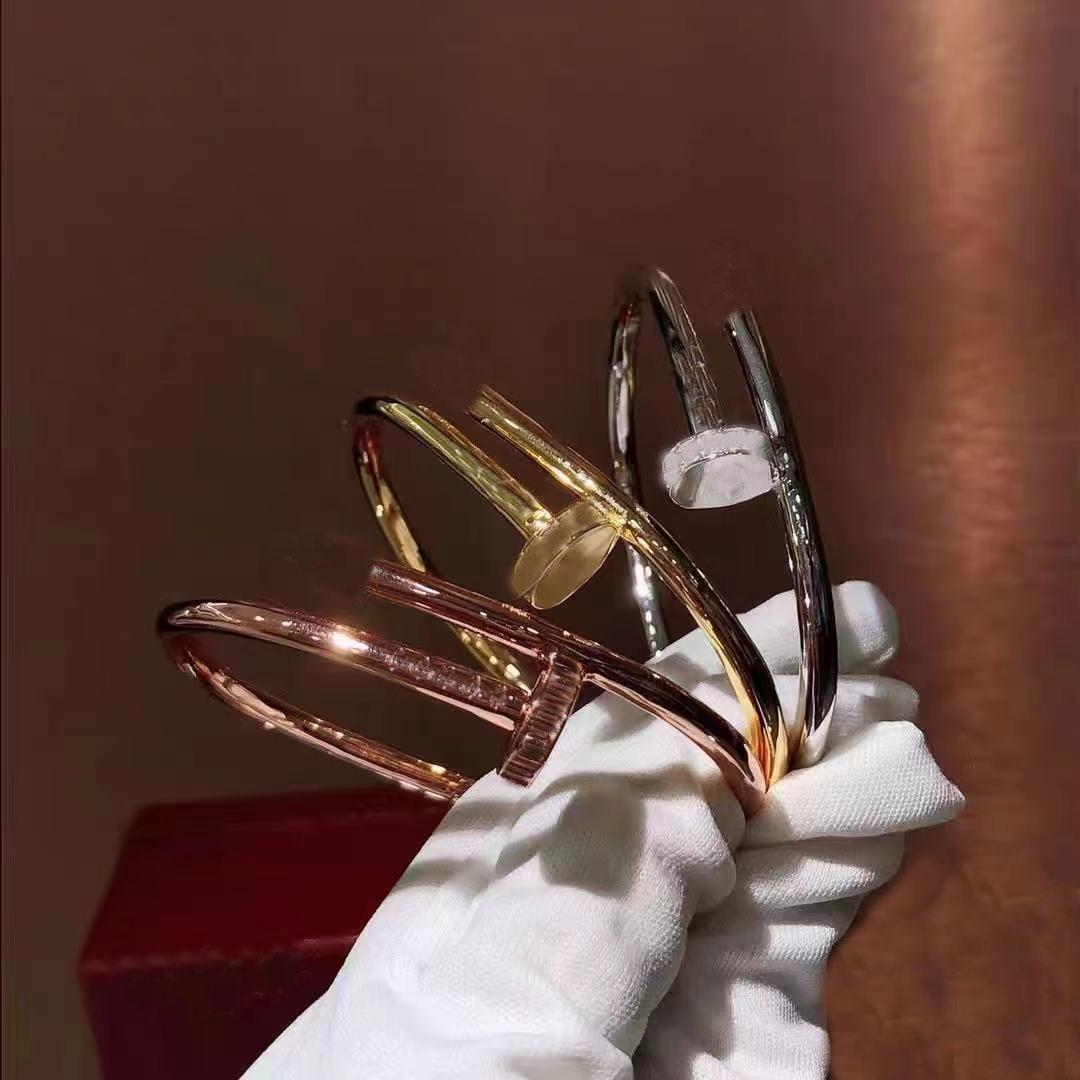 Klasik Tırnak Elmas Bilezik Moda Titanyum Çelik Altın Gümüş Gül Altın Unisex Lüks Tasarım Takı Orijinal Hediye Kutusu Ambalaj